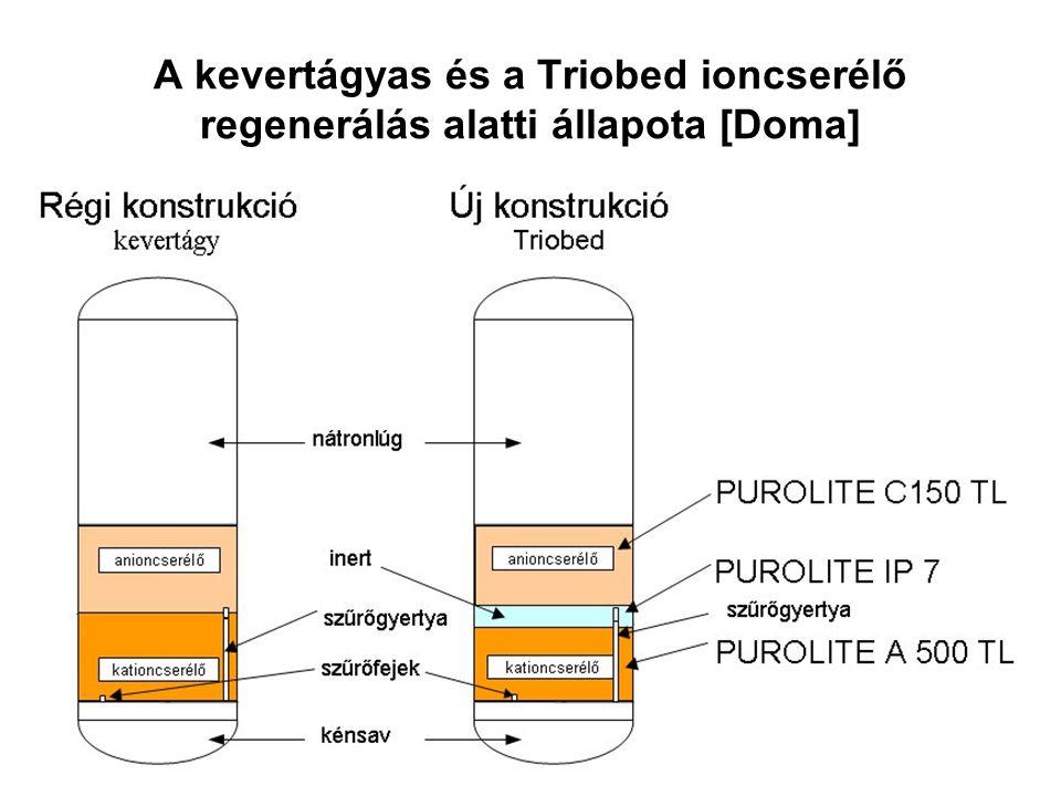 A kevertágyas és a Triobed ioncserélő regenerálás alatti állapota [Doma]